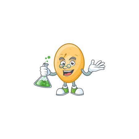 Smart potato cartoon character holding glass tube. Vector illustration Illustration