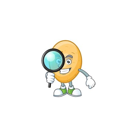 Smart One eye potato Detective cartoon character design Illustration