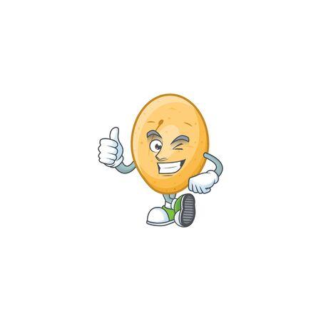 cartoon character of potato making Thumbs up gesture. Vector illustration