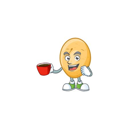 Picture of potato character with a cup of coffee. Vector illustration Ilustrace