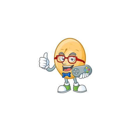 cool geek gamer potato cartoon character design. Vector illustration