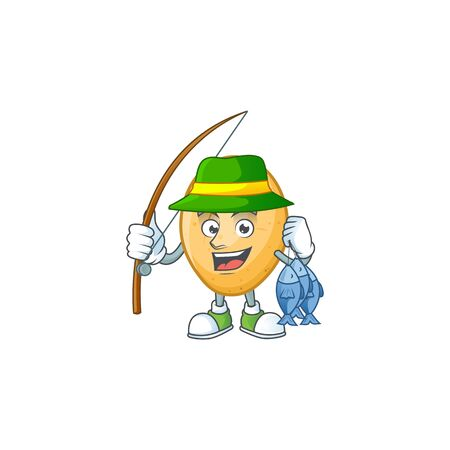 Cheerful face Fishing potato mascot design style. Vector illustration