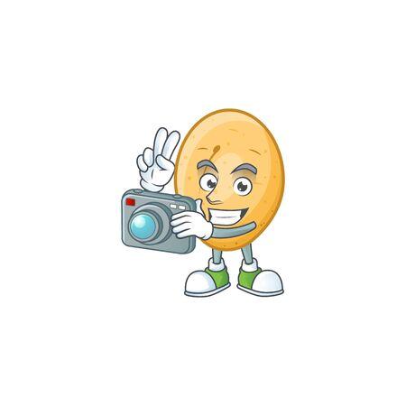 Smart Photographer potato cartoon mascot with a camera. Vector illustration Ilustrace