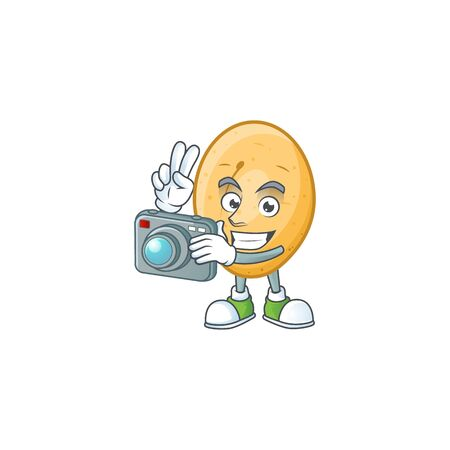 Smart Photographer potato cartoon mascot with a camera. Vector illustration Illustration