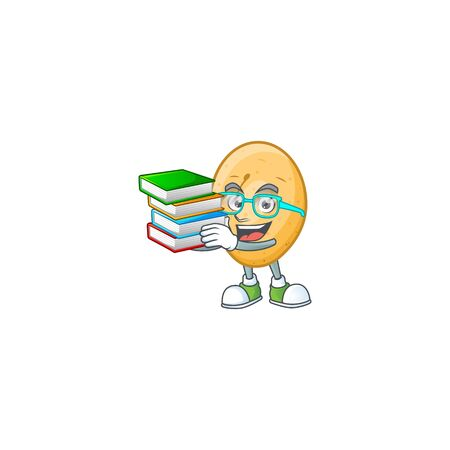 Student with book potato on mascot cartoon character style. Vector illustration Illustration