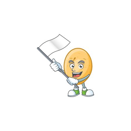 cute potato cartoon character design holding a flag. Vector illustration