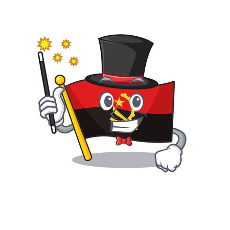 Mascot of flag angola Scroll performance as a Magician style. Vector illustration