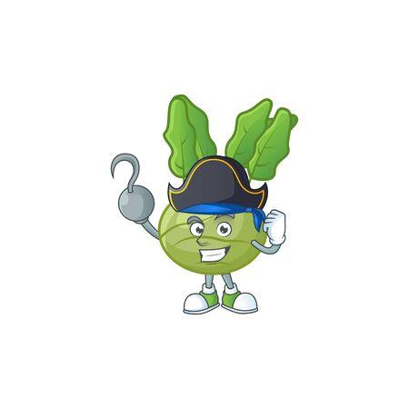 one hand Pirate kohlrab cartoon character wearing hat. Vector illustration Ilustrace