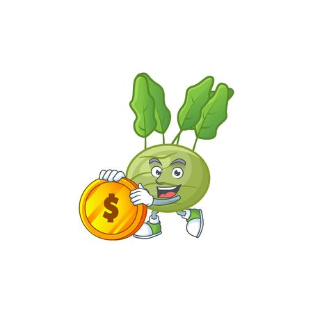 happy face kohlrab cartoon character with gold coin. Vector illustration  イラスト・ベクター素材