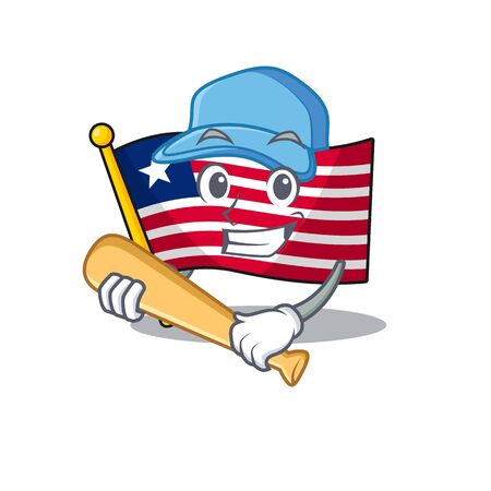 Cool flag liberia Scroll cartoon character design with baseball. Vector illustration