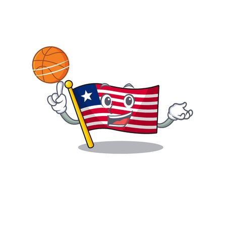 An icon of flag liberia Scroll cartoon character playing basketball. Vector illustration