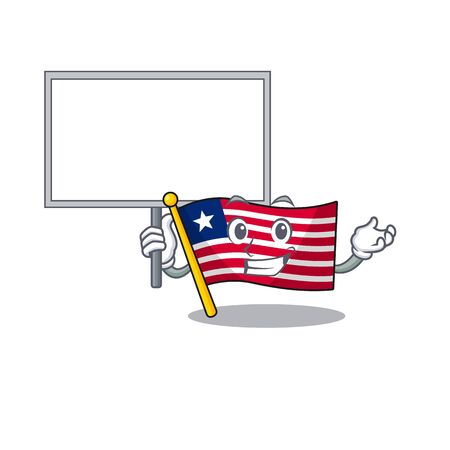 Flag liberia Scroll cute cartoon character bring a board. Vector illustration