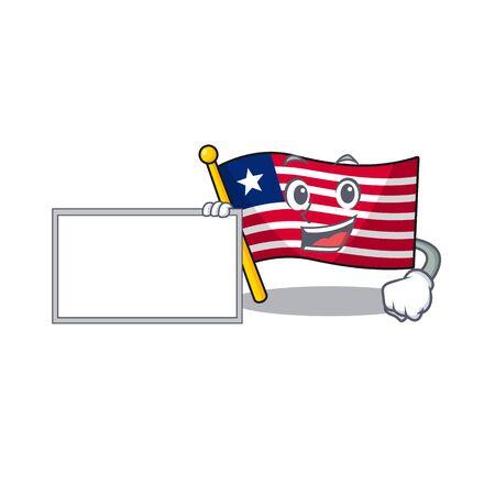 Flag liberia Scroll with board cartoon mascot design style. Vector illustration