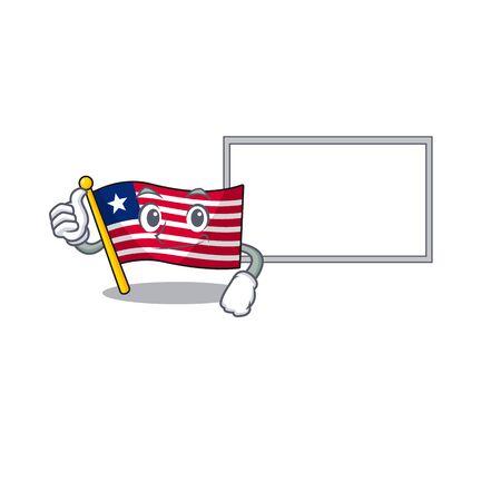 cute flag liberia Scroll cartoon character Thumbs up with board. Vector illustration Иллюстрация
