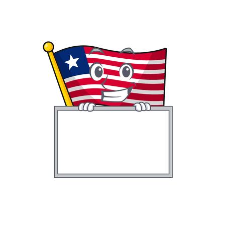 Flag liberia Scroll cartoon character style grinning with board. Vector illustration Иллюстрация