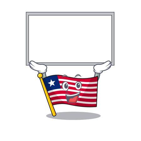 Happy cartoon character flag liberia Scroll raised up board. Vector illustration Иллюстрация