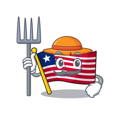 Happy Farmer flag liberia Scroll cartoon character with hat and tools. Vector illustration