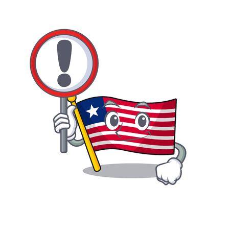 Cartoon design of flag liberia Scroll raised up a sign. Vector illustration