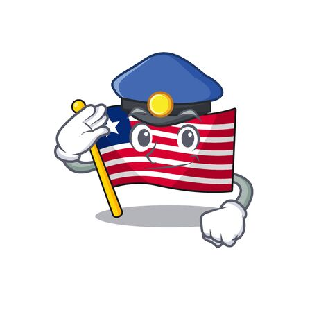Flag liberia Scroll Cartoon mascot style as a Police officer. Vector illustration