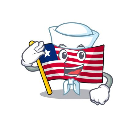 An icon of flag liberia Scroll Sailor cartoon character wearing hat. Vector illustration