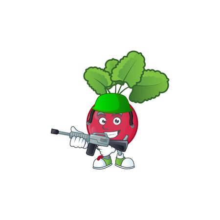 A mascot of red radish as an Army with machine gun. Vector illustration