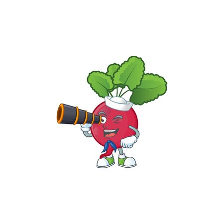 Picture of Smiling happy Sailor red radish with binocular. Vector illustration Ilustrace