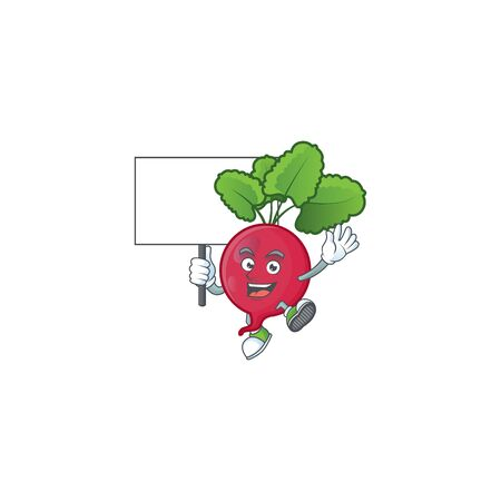Red Radish cute cartoon character style bring board. Vector illustration