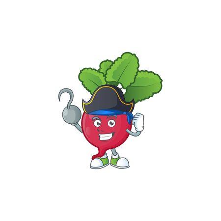 one hand Pirate red radish cartoon character wearing hat