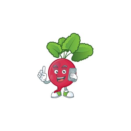 Mascot design of red radish speaking on the phone. Vector illustration