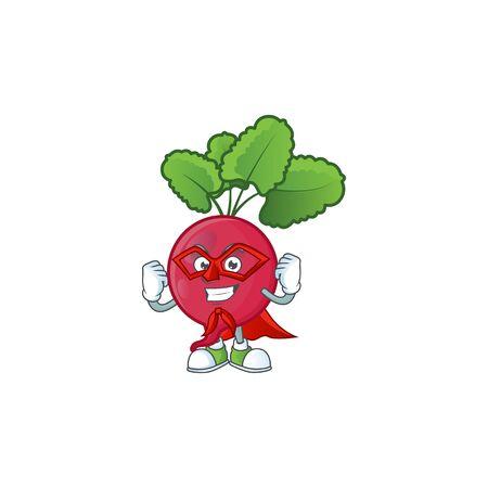 A cartoon of red radish with Super hero costume Ilustrace