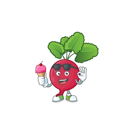 Cute red radish cartoon character with ice cream. Vector illustration