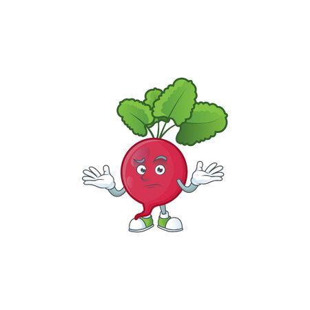 Cool Grinning of red radish mascot cartoon style. Vector illustration