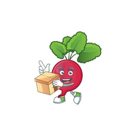 Cute red radish cartoon character style holding a box. Vector illustration