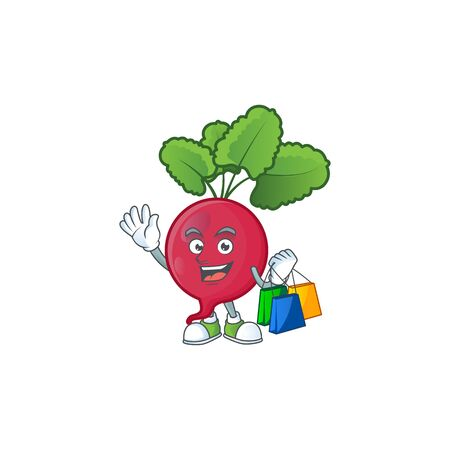 Cheerful red radish mascot waving and holding Shopping bags. Vector illustration Ilustrace