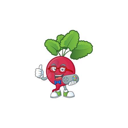 cool geek gamer red radish cartoon character design. Vector illustration