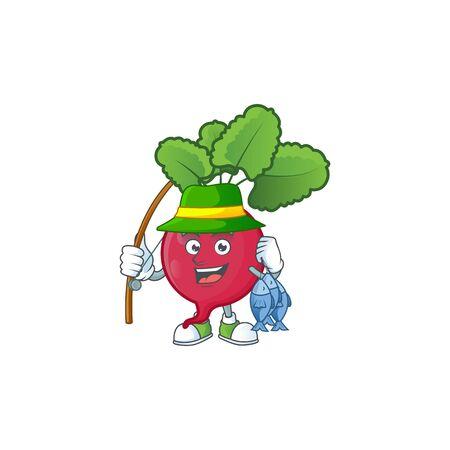 Cheerful face Fishing red radish mascot design. Vector illustration Ilustrace