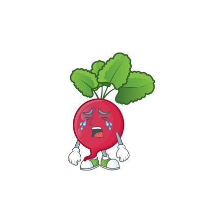 Sad Crying gesture red radish cartoon character style. Vector illustration Ilustrace