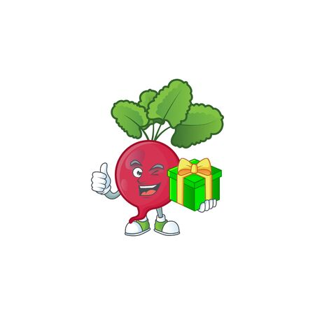 cartoon character of happy red radish with gift box. Vector illustration