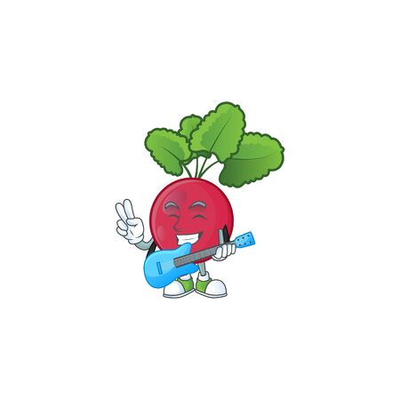 Cute and cool red radish cartoon character performance with guitar. Vector illustration
