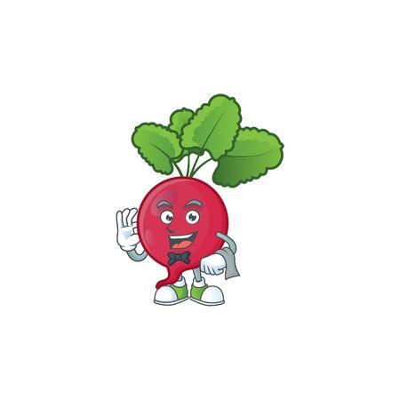 Red radish cartoon character as a Waiter look. Vector illustration