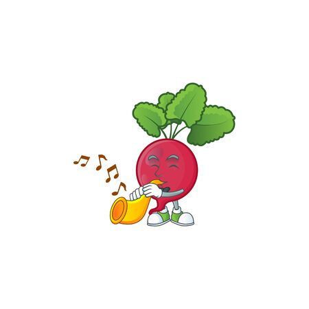 Cheerful red radish cartoon character performance with trumpet. Vector illustration