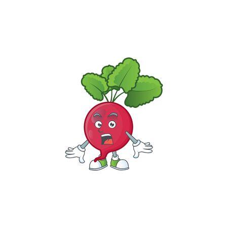 Surprised red radish gesture on cartoon mascot design. Vector illustration