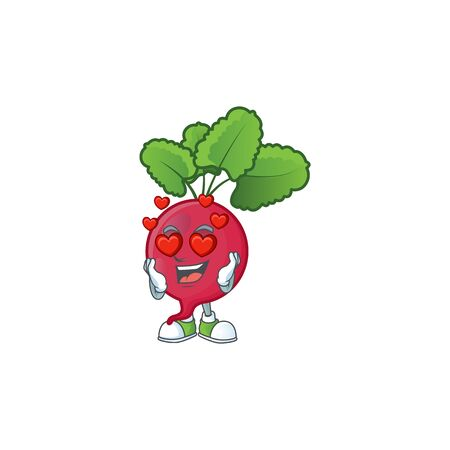 Super cute Falling in love red radish cartoon character. Vector illustration