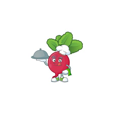 Cute red radish as a Chef with hat and tray cartoon style design. Vector illustration