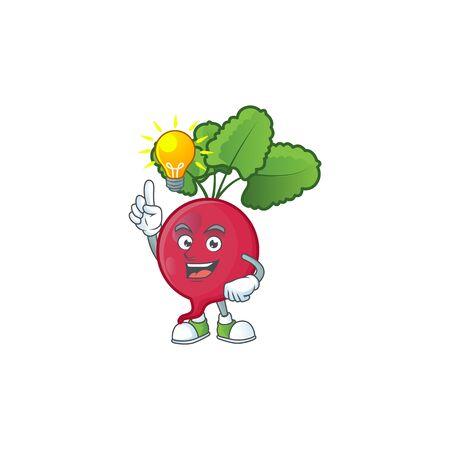 Have an idea cute gesture red radish on a cartoon style. Vector illustration Ilustrace