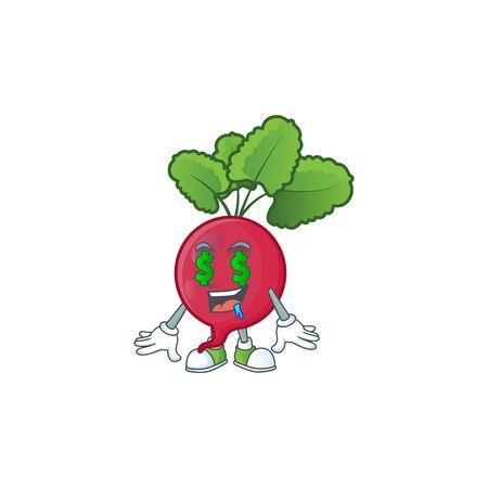 Cute red radish with Money eye cartoon character design. Vector illustration