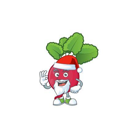 Happy red radish in Santa costume mascot style. Vector illustration