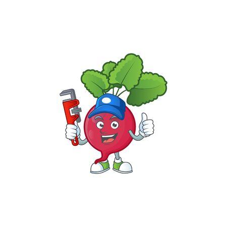 Cool Plumber red radish cartoon character mascot design. Vector illustration