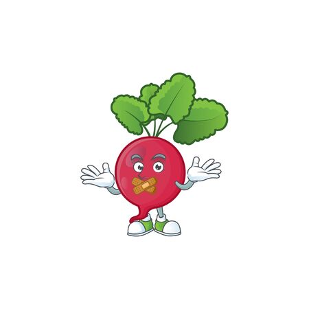 Red radish cartoon character style with silent gesture