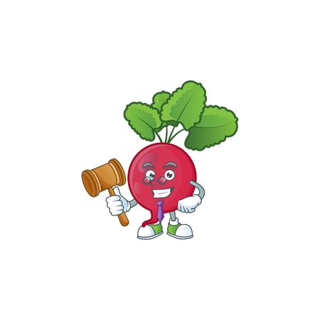 A professional judge red radish presented in cartoon character design. Vector illustration